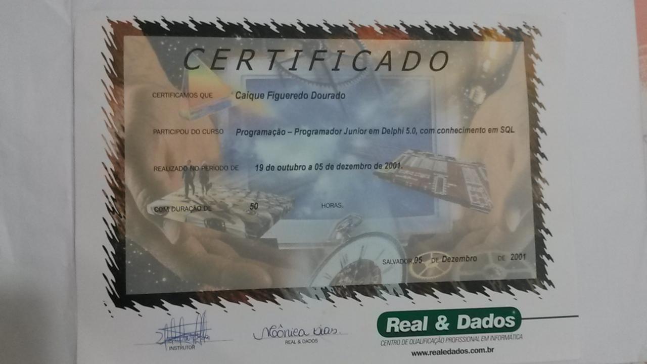 Certificado: Curso Delphi 5.0 com conhecimento em SQL da Real e Dados