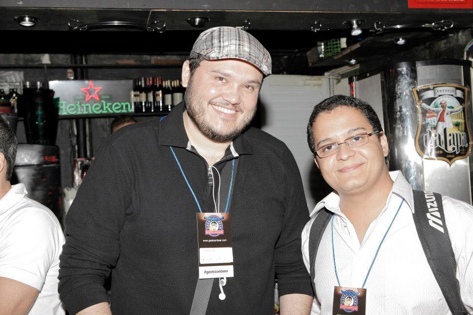 Eu e meu Sócio Sidharta, no Geeks on Beer no Rio
