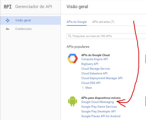 """7º Localize a área """"APIs para dispositivos móveis"""", e clique no item """"Google Cloud Messaging"""""""