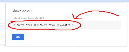 """14º Será exibida a """"Chave de API"""", anote-a em algum lugar."""