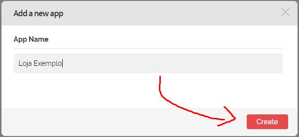 """5º Informe o nome do site e clique em """"Create"""""""