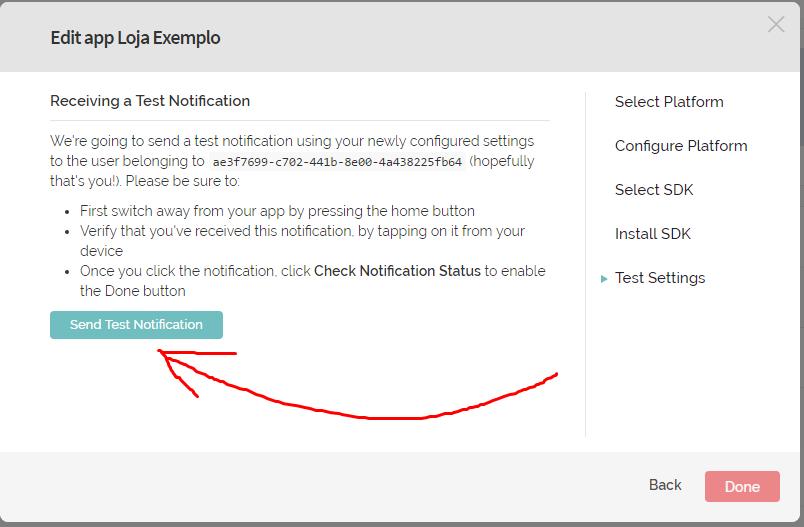 """21º Clique no botão verde """"Send Test Notification"""""""