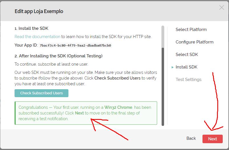 Será exibido um box verde, informando que um usuário (você) se inscreveu para receber as notificações