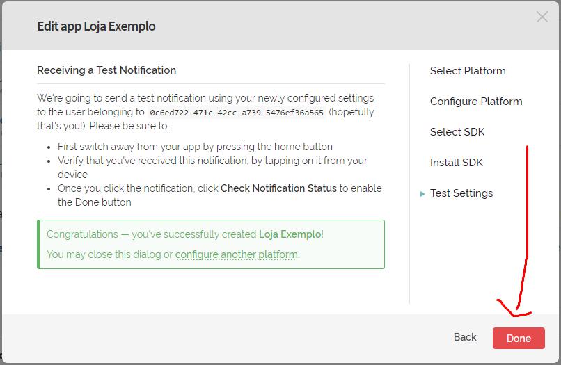 """25º Será exibido um box verde, informando que o Push foi configurado corretamente. Clique no botão vermelho """"Done"""""""