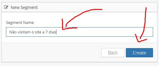 """4º Informe o nome do segmento e clique em """"create"""""""