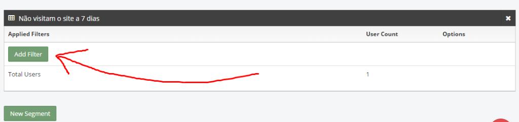 """5º Localize o segmento criado e clique em """"Add Filter"""""""